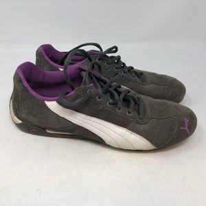 puma womens gray purple suede sneakers low top 9